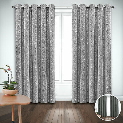 £16.19 • Buy New Metallic Sparkle Glitter Thermal Blackout Curtains Ring Top Ready Made Pair