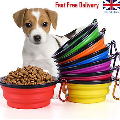 Pet Collapsible Dog Cat Feeding Silicone Bowl Travel Portable Water Dish Camping • 3.19£