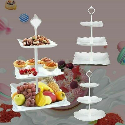3 Tier Cake Stand Afternoon Tea Wedding Party Plates Tableware Embossed Tray UK • 7.98£