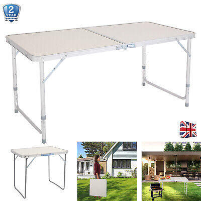 £24.99 • Buy 4FT Camping Heavy Duty Folding Table Picnic BBQ Garden Party Aluminum Adjustable