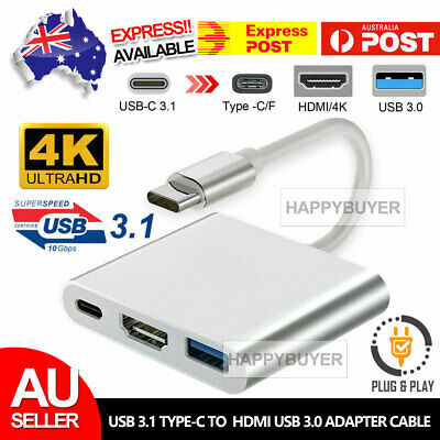 AU11.85 • Buy Type C To USB-C HDMI USB 3.0 Converter Adapter Cable 3 In 1 Hub For MacBook Pro