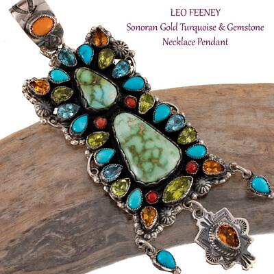 $ CDN996.92 • Buy LEO FEENEY Squash Blossom Necklace Pendant Sonoran Gold Turquoise BUTTERFLY DANC