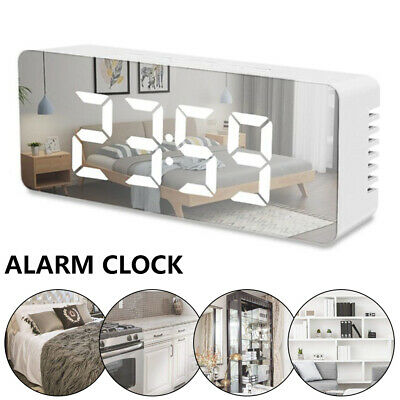 AU14.49 • Buy Mirror LED Alarm Clock Night Light Thermometer Clock USB/Battery Operated¥₱