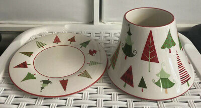 Yankee Candle Christmas Holiday Trees Large Shade & Tray Plate Set For Jar • 15.95£