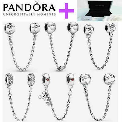 AU25.99 • Buy NEW Genuine Silver Pandora Logo Safety Chain Charm ALE S925 & With Gift Box