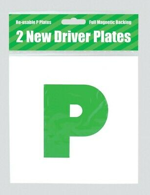 2x MAGNETIC LEARNER DRIVER GREEN P PLATES 2 PACK • 2.30£