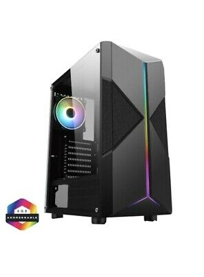 CIT Pyro Mid ATX Tower Gaming PC Case RGB Ring LED Fan 7 Strip Tempered Glass  • 20£