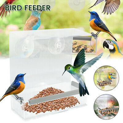£5.59 • Buy Glass Window Bird Feeder Wild Table Hanging Suction Perspex Clear Viewing Seed