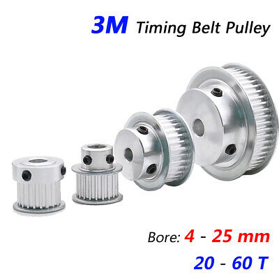 AU8.95 • Buy 3M Timing Belt Pulley 4mm-25mm Bore 20T-60T With Steps For 10/15mm Wide Belt CNC
