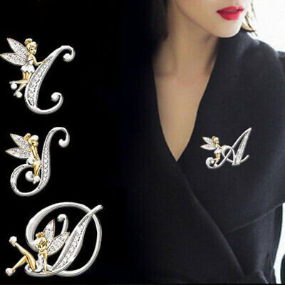 £2.34 • Buy Initial Alphabet Letter A-Z Gold Rhinestone Brooch Pin Corsage Jewelry Accessory