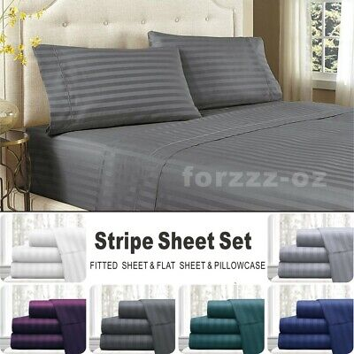 AU22.64 • Buy Striped 1000TC Pillowcase Flat Fitted Sheet Set Super King Single Queen Double