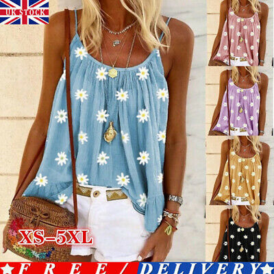 £7.25 • Buy Womens Swing Vest Sleeveless Cami Top Ladies Strappy Flared Shirt Plus Size Tops