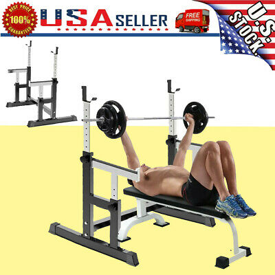 $ CDN149.38 • Buy Barbell Rack 550LBS Max Load Adjustable Squat Stand Dipping Station Weight Bench