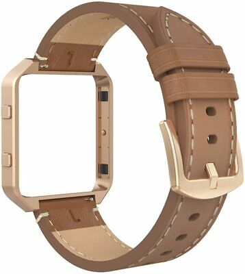 AU38.68 • Buy For Fitbit Blaze Band Strap Frame Genuine Leather Replacement Wristband Large Br