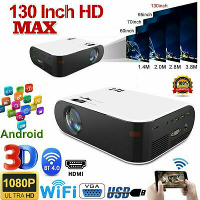 3D 4K HD Wifi LCD Projector Bluetooth Mini Android Home Movie Theater HDMI AV • 98.88£