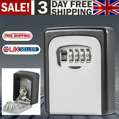 High Security 4 Digit Key Safe Box Code Lock Storage Box Outdoor Wall Mounted UK • 9.98£