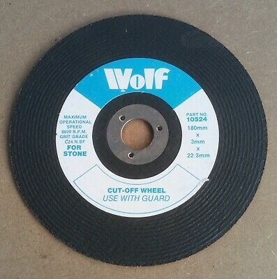 Wolf Stone Cutting Disc Brick Concrete Flat Disc Cut Off 180mm X 3mm X 22mm • 3.50£