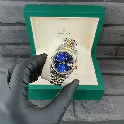 $ CDN7763.87 • Buy MINT Gents Rolex Datejust In Steel & 18k Gold With Blue Roman Numeral Dial - Box