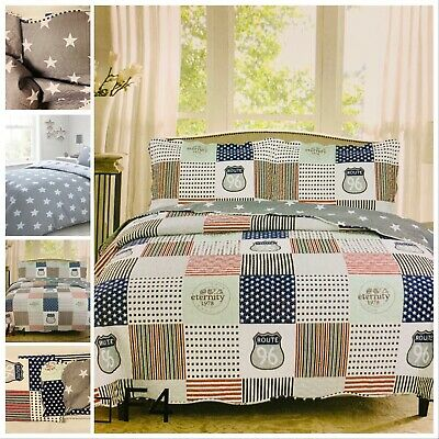 £23 • Buy Silver Navy Red Stars Stripes Double King Size Bedspread Set Reversible Route