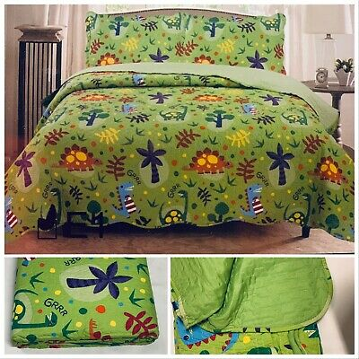 £19.95 • Buy Dino Green  Bedspread Set 3 Pcs Double King Size Quilted Bedspread Set Kids