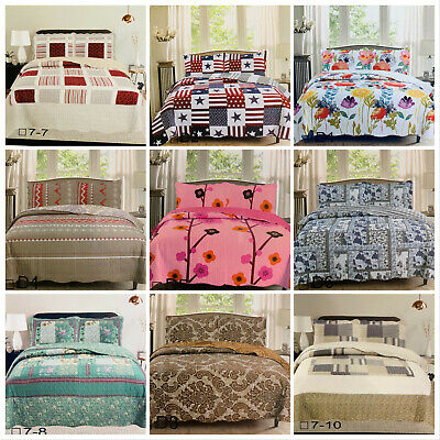 £19.99 • Buy All Season Patchwork Bedspread Set 3 Pcs Double King Size Quilted Bedspread Set