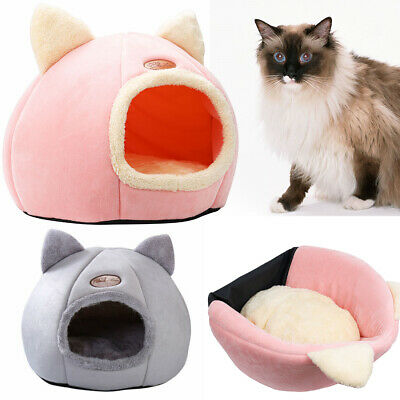 £10.29 • Buy M/L Cat Pet Dog Warm House Cave Igloo Beds For Indoor Cats Cozy Wool Nest Kennel