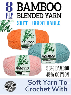 AU19.69 • Buy 5pc 8ply Soft Bamboo Blended Yarn Crochet Knitting Baby Breathable Clothing
