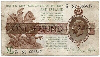 Fisher One Pound Note From 1923 Second Issue Duggleby T32 • 20£