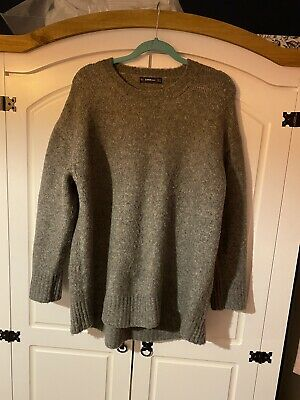 Zara Grey Knitted Slouchy Jumper Large • 3.99£