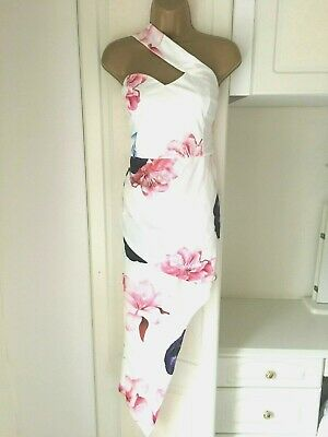 £15.99 • Buy Pink Boutique Size Uk 14 Lined Floral Print High Low Dress In Vgc Bust 38