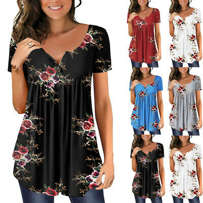 £8.69 • Buy Womens Short Sleeve Summer Loose T Shirts Tee Ladies Floral Tunic Tops Blouse UK