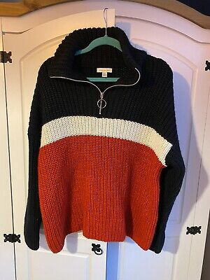 Topshop Navy White Red Chunky Knit Slouchy Half Zip Jumper RRP £50 • 9.99£
