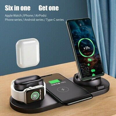 $ CDN27.12 • Buy 6 In 1 Qi Wireless Charger Fast Charging Dock Pad Stand For IPhone /Apple Watch