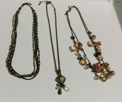 $ CDN19.96 • Buy Lot 3 Retro Style Necklaces Premier Designs Multi Strand &  Lia Sophia Pendant