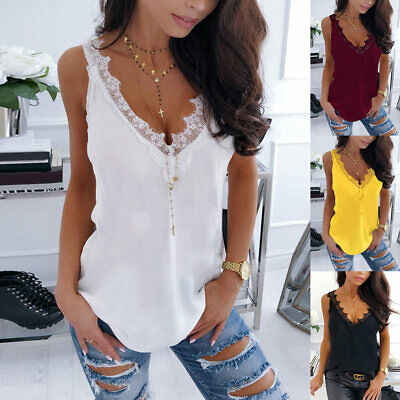 £8.69 • Buy Womens Sleeveless Vest Tank Top Lace Trim Summer Casual Camisole Blouse T-Shirt