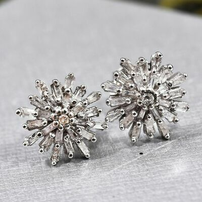 £39.99 • Buy 0.33 Ct Diamond Snowflake Stud Earrings Platinum Plated Sterling Silver By TJC