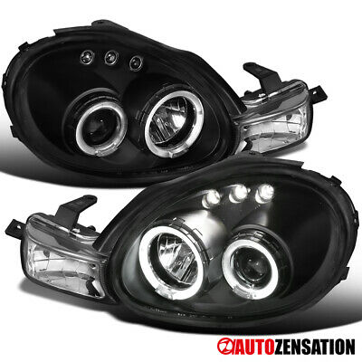 $92.99 • Buy For 2000-2002 Dodge Neon Black LED Halo Projector Headlights Lamps Left+Right