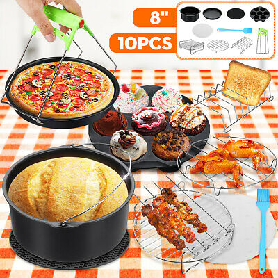 AU18.99 • Buy ❤10PCS 8'' Air Fryer Accessories Rack Cake Pizza Oven Barbecue Frying Pan Tray