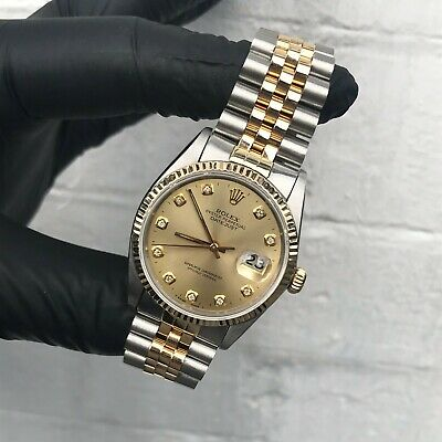 $ CDN7685.86 • Buy Gents Rolex Datejust In Stainless Steel & 18ct Gold With Champagne Diamond Dial.