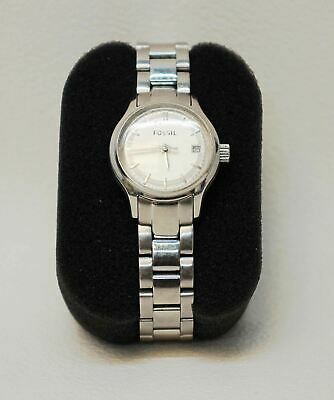 $ CDN69.07 • Buy FOSSIL Ladies Silver Stainless Steel Analogue Wristband Bracelet Watch ES3165