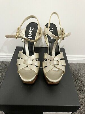 AU158 • Buy Yves Saint Laurent YSL Tribute Gold Patent Stiletto Heels RRP $1299 Size 38.5