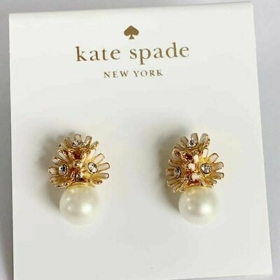 $ CDN8.76 • Buy Kate Spade New York Gold-Tone Crystal & Pearl Flower Drop Earrings