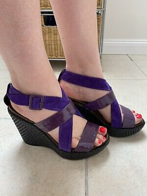 Audley Purple Leather/Suede Wedge Shoes Size 4 • 15£