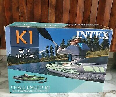 AU414.72 • Buy Intex Challenger K1 Kayak 1 Man Inflatable Canoe With Aluminum Oars And Hand