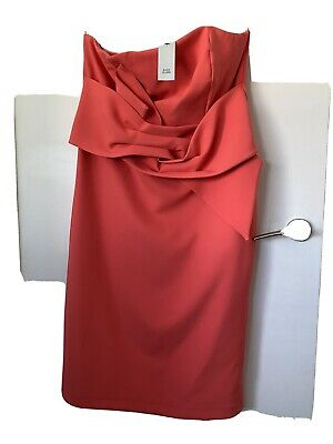 BNWT River Island Coral Strapless Bow Detail Dress Size 18 • 20£