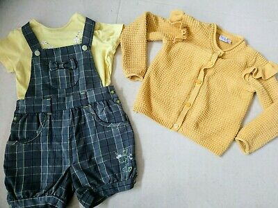 🌞Baby Girls Summer Outfit Set Bundle Top Cardigan Dungarees 12-18 Months • 2.99£