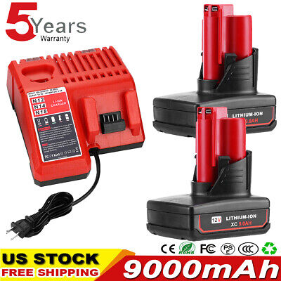 $50.99 • Buy For Milwaukee M12 M18  Rapid Charger & 12V 3.0-9.0Ah Extended Battery 48-11-2460