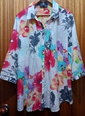 AU26.50 • Buy THE CLOTHING COMPANY (Woman) 100% Cotton Blouse/Top Sz18 3/4 Sleeves *FREEPOST*