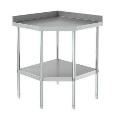 £149.95 • Buy Stainless Steel Commercial Catering Kitchen 2 Tier Shelving Unit Corner Table UK