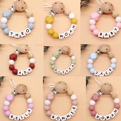£5.99 • Buy Dummy Clips Personalised Baby Pacifier Chain Holder Teething Toy Newborn Gift UK
